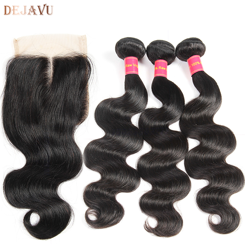 Dejavu Hair Brazilian Body Wave 3 Bundles With Closure Middle Part Human Hair Bundles with Closure Natural Color Non Remy