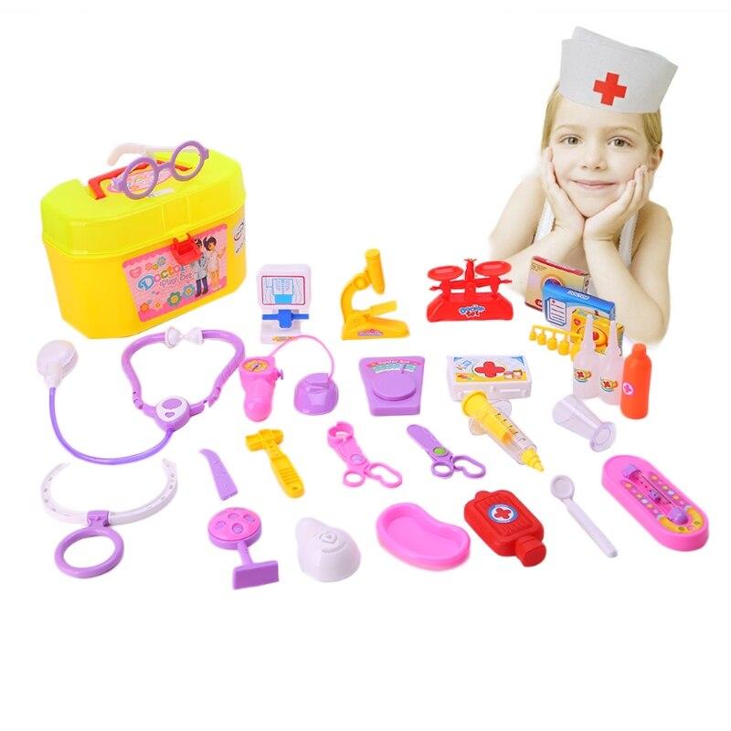 30Pcs/1Set Nurse Doctors Medical Case Pretend Play Kit Kids Medicine First Aid Box Toy-m15