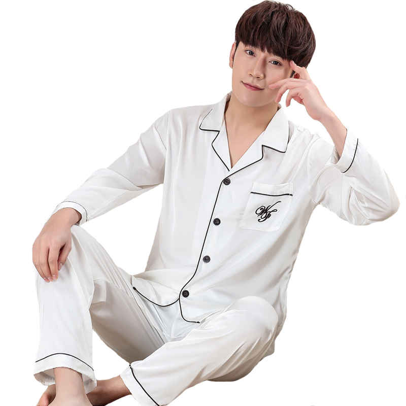 Spring Male Casual Home Clothes Faux Silk Pajamas Set NEW Style Men 2PCS Sleepwear Oversize 3XL Long Sleeve Nightwear Suit