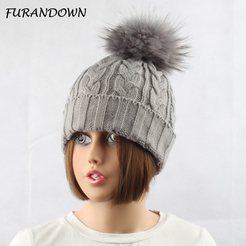 FURANDOWN Winter Fur Hats For Women Lady Warm Knitted Wool Beanie Cap Dyed Natural Raccoon Fur Pompom Hat women s winter beanie hat wool knitted cap shining rhinestone beanie mink fur pompom hats for women