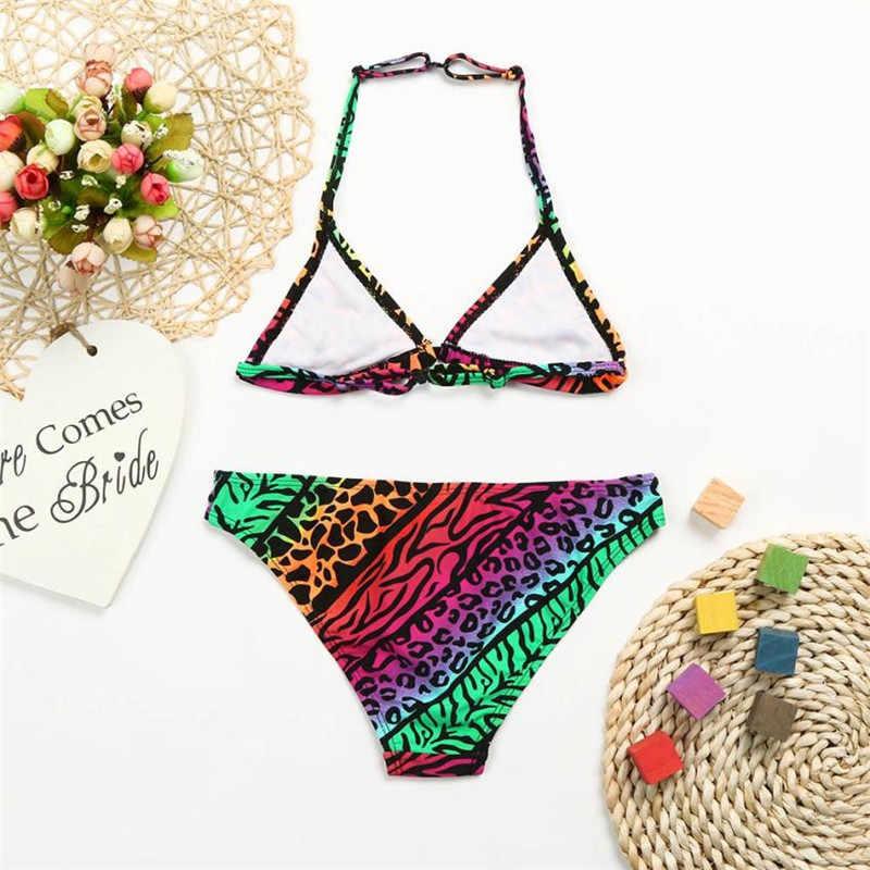 Детское леопардовое градиентное бикини для маленьких девочек, купальный костюм, купальная одежда, купальный костюм для девочек, летняя одежда для детей, S3MAY2