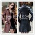 Más el tamaño de cuero de La Motocicleta chaquetas de cuero larga de las mujeres mujeres de la capa de foso de cuero Jaqueta feminina de couro jaquetas colegial