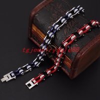Bling White Crystal Bracelet Charm Men S Stainless Steel Jewelry Black Red Silver Blue Color Bicycle