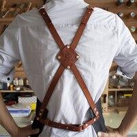 Leather cowboy aprons barista floral painting drawing barber uniform customize logo