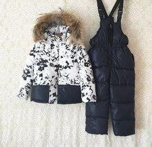 Девушки мех вниз snowwear костюмы зима теплая с капюшоном меховой воротник дети лыжная одежда наборы верхней одежды вниз пальто + спецодежда брюки 2 шт