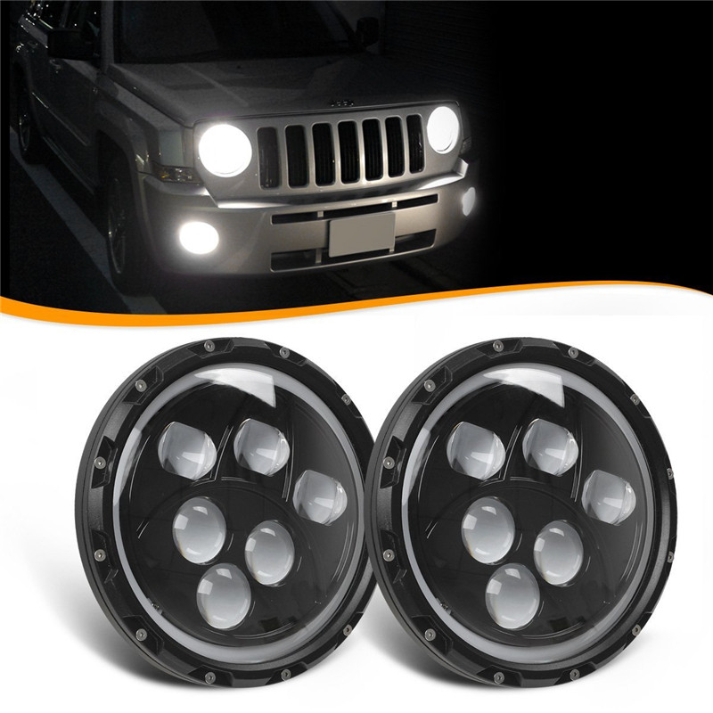 7 Inch 60W  Led Headlight DRL White turn singal Hi/Lo Beam headlamp bulb Fit Jeep Wrangler JK TJ Sahara  Unlimited Hummer H1 H2 pair 75w 7inch 5d headlight led h4 plug h13 drl hi lo beam for jeep jk tj cj hummer