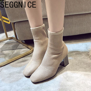 Image 2 - 2019 New Knitted Women Sock Boots Female Ankle Boots High Heels Sock Shoes Women Sneakers Elastic Shoes