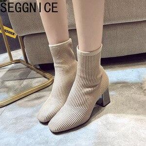 Image 2 - 2019 새로운 니트 여성 양말 부츠 여성 발목 부츠 하이힐 양말 신발 여성 운동화 탄성 신발