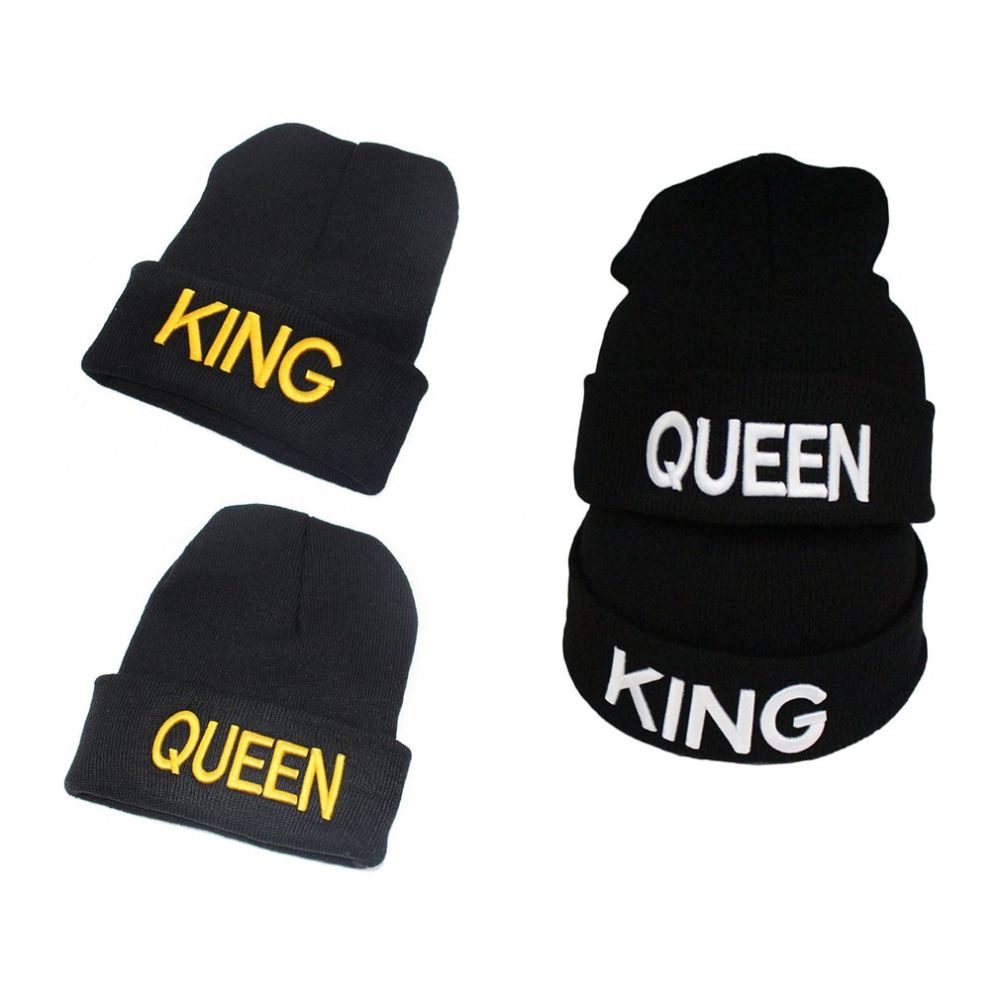 New QUEEN KING Bonnets Man Woman Couple   Skullies     Beanies   Hats Winter Warm Knitted Wool Hats Brand Quality Lover Fashion Cute Cap