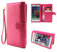 Hand Strap Card Wallet Touch Screen Mobile Phone Leather Case Bags Pouch For BlackBerry Aurora LeEco
