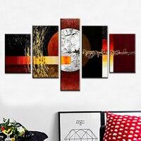 5 Stuk Moderne Abstracte Art 100% Handgeschilderde Volledige maan Olieverf Frameloze Grote Muur Canvas Schilderij voor Living kamer