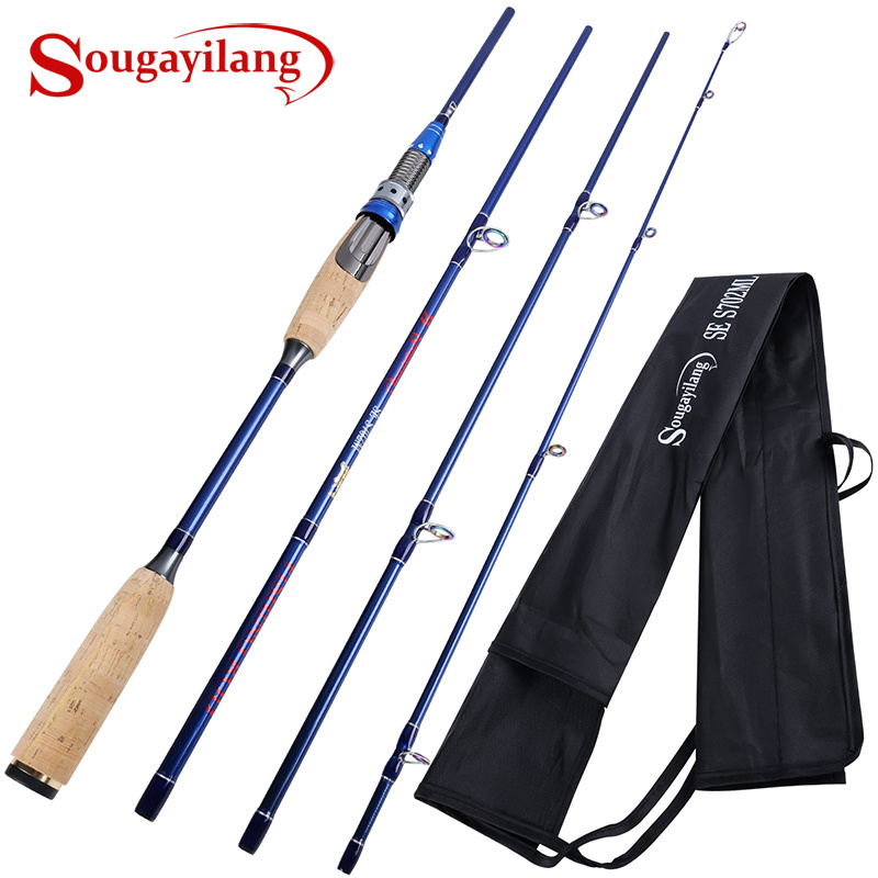 Sougayilang 4 Section Lure Rod 2.1M 2.4M Ultralight Weight Fishing Rod Carbon Rod Spinning Travel Rod Carp Fishing TackleSougayilang 4 Section Lure Rod 2.1M 2.4M Ultralight Weight Fishing Rod Carbon Rod Spinning Travel Rod Carp Fishing Tackle