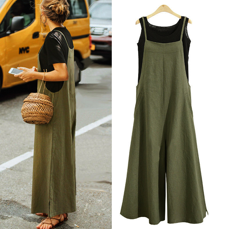 Elegant Fashion Women Cotton Linen Long Wide Leg   Romper   Strappy Bib Overalls Casual Loose Solid Simple Jumpsuit Trousers Suit