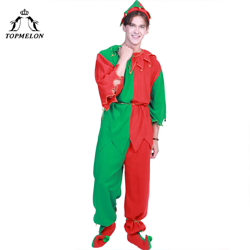 TOPMELON Mens Elf Costume Tops Pants Two Piece with Hat Shoes Whole Set For Elf Cosplay Christmas Holiday