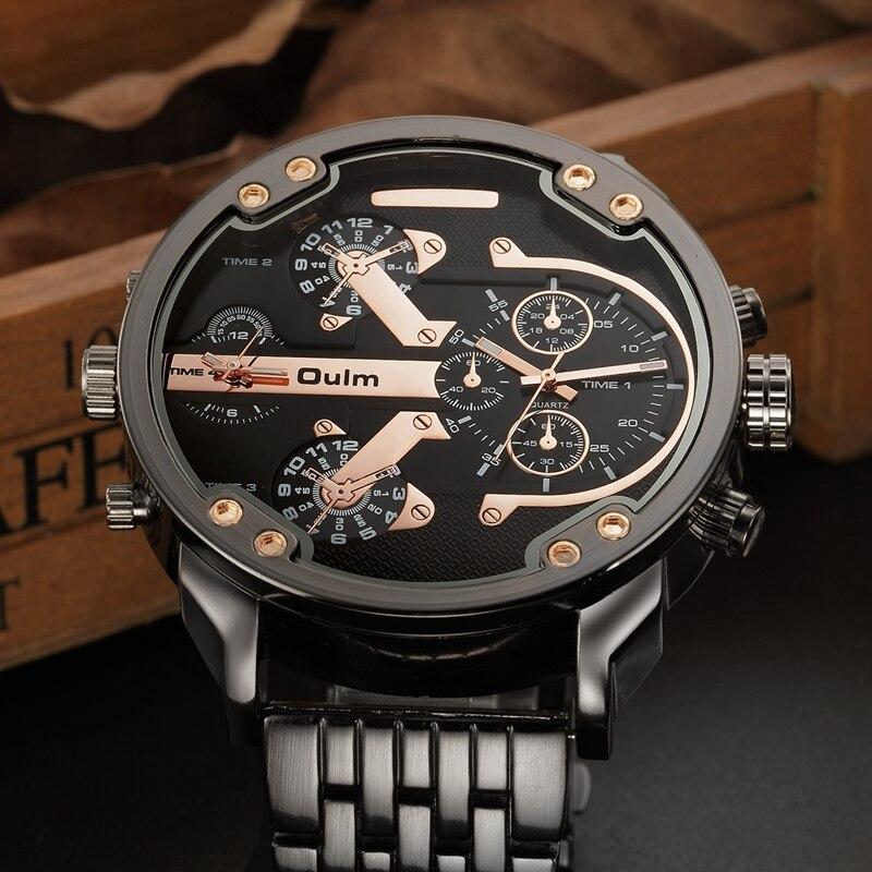 3c2798315a9 Oulm Militar Masculino Relógios Hora de Ouro Oversized Big Relógio de Quartzo  Marca de Topo Homens Completa de Aço Inoxidável Relógio de Pulso montre  homme ...