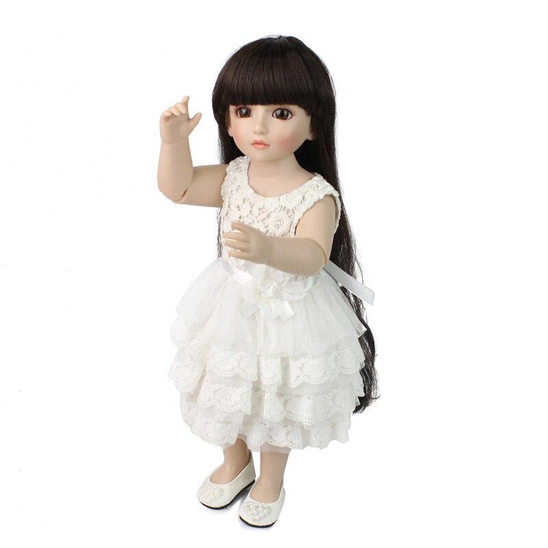 New design 19 inch American Girl Doll With Long Hair and White Dress Reborn Doll Full Vinyl Silicone Girl Doll Baby Toys new full vinyl american girl 18 inch play dolls with brown long hair adora doll for kids toys children gift