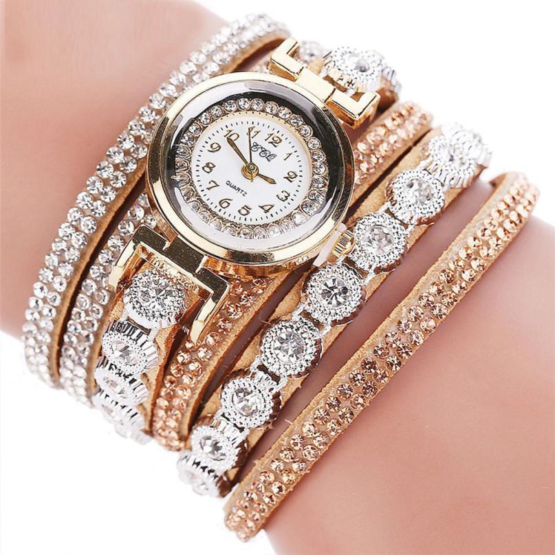 Rhinestone Watch Leather Bracelet Watches
