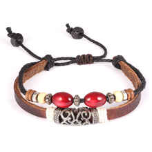 GOLDAYS Vintage Adjustable Hand Woven Leather Wood Bead Bracelet Unisex Fashion Jewelry