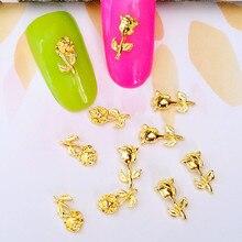 10 шт./лот, 5*9 мм, 4*8 мм, золотой, серебряный цветок розы, 3D металлический сплав, украшения для дизайна ногтей, гелевые наклейки для ногтей, подвески для женщин