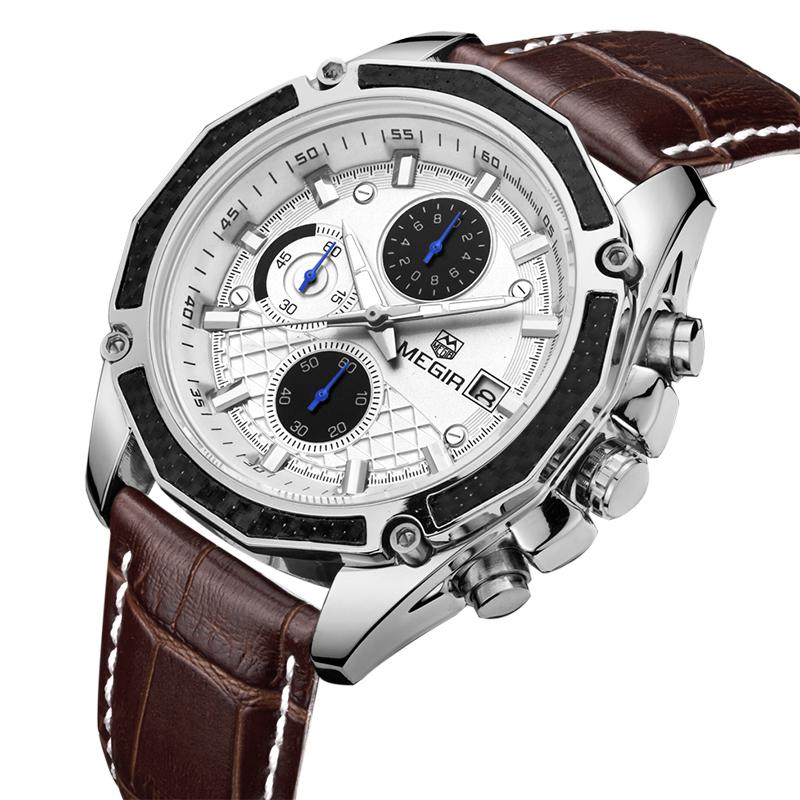 Prix pour 2017 Megir Montres Hommes Montre De Luxe Célèbre Marque Chronographe Hommes Montres Homme Horloge Sport Uhr En Cuir Quartz-Montre Reloj Hombre