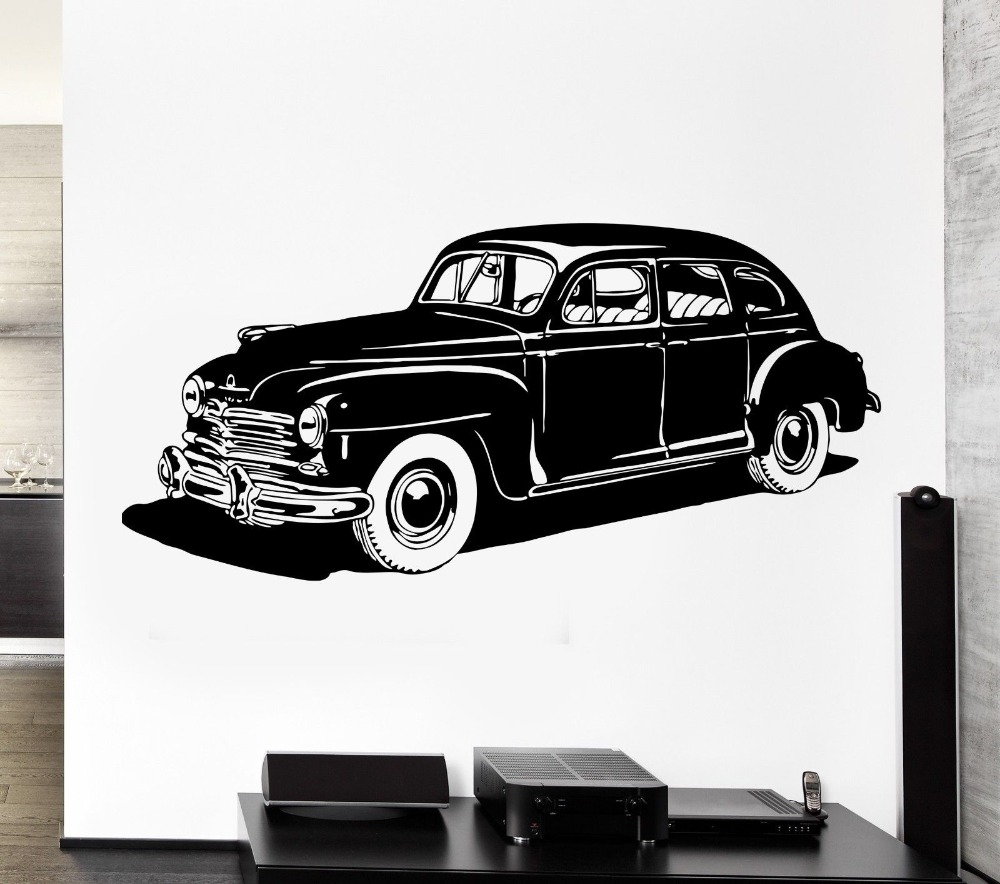 Cool wheel vehicle leather reto carc wall sticker vinyl for Classic house vinyl