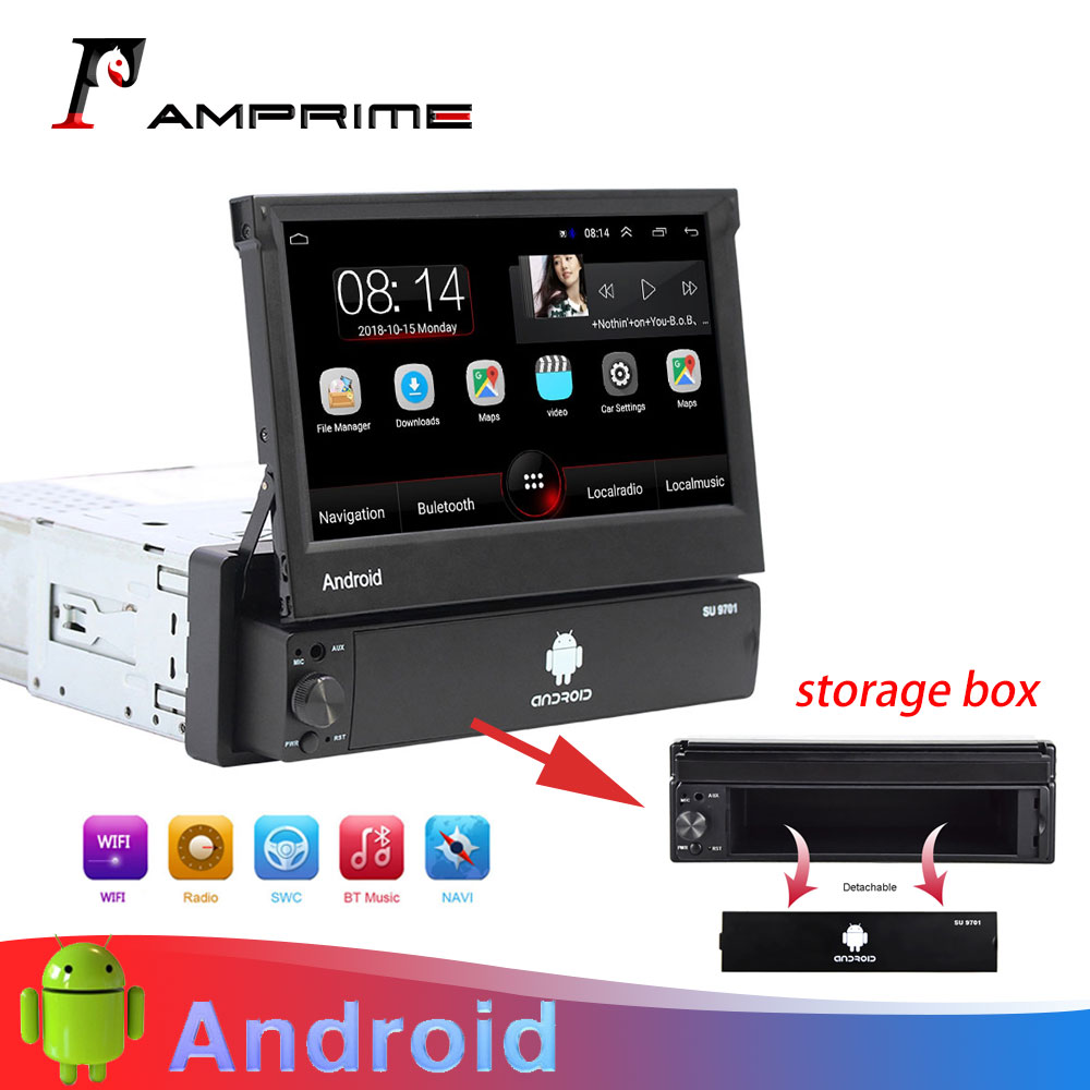 AMprime Android Car Radio Autoradio 1 Din 7'' Touch Screen Car Multimedia Player GPS Navigation Wifi Auto MP5 Bluetooth USB FM image