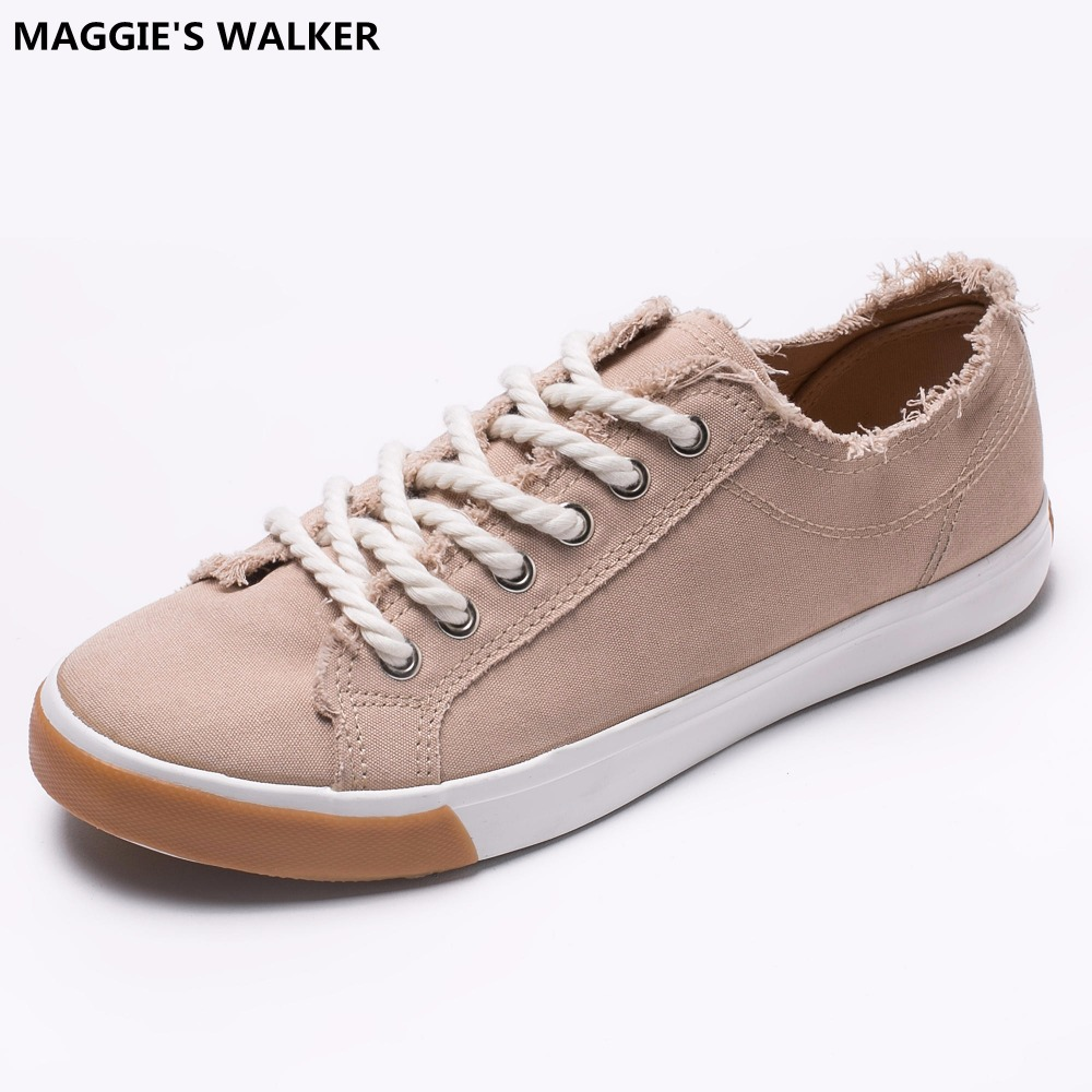 Maggie's Walker New Arrival 2017 Fashion Casual Canvas Shoes Lacing Platform Shoes Candy-colored Canvas Outdoor Shoes Size 35~40 free shipping new arrival 2017 women trendy candy colored slip on canvas shoes platform canvas casual loafers size 35 40