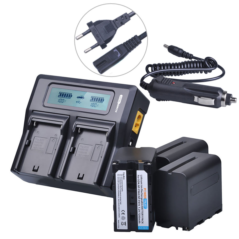 3Pcs 7200mAh NPF960 NPF970 NP F960 NP F970 NP-F970 Battery + LCD Rapid Dual Charger for Sony F930 F950 F770 F570 F975 F970 F960 4pcs np f970 f970 np f960 rechargeable battery 1quick rapid charger for sony mvc fd90 fd91 fd92 hvr hd1000 f975 f970 f960