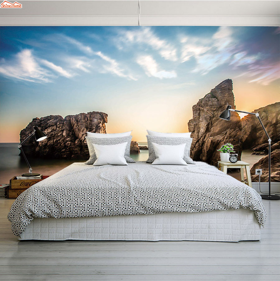 цена ShineHome-Modern 3d Wall Paper Sea Skyline Beach View 3d Photo Wallpaper Mural Rolls Papel De Parede Para Quarto Papier Peint онлайн в 2017 году