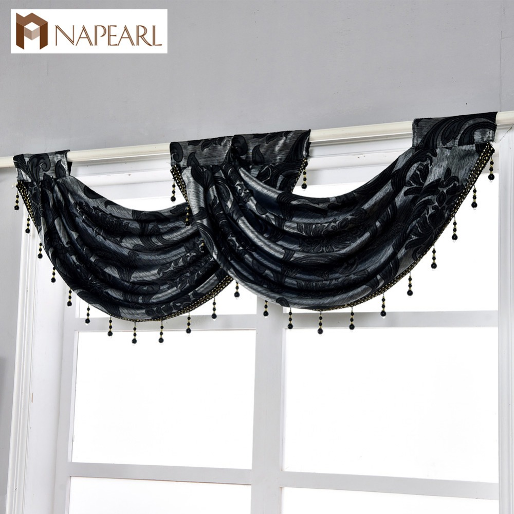 NAPEARL Beaded Decorative Valance Floral Kitchen Rod Pocket Curtains Jacquard Treatment Curtains Luxury Modern Thick Curtains