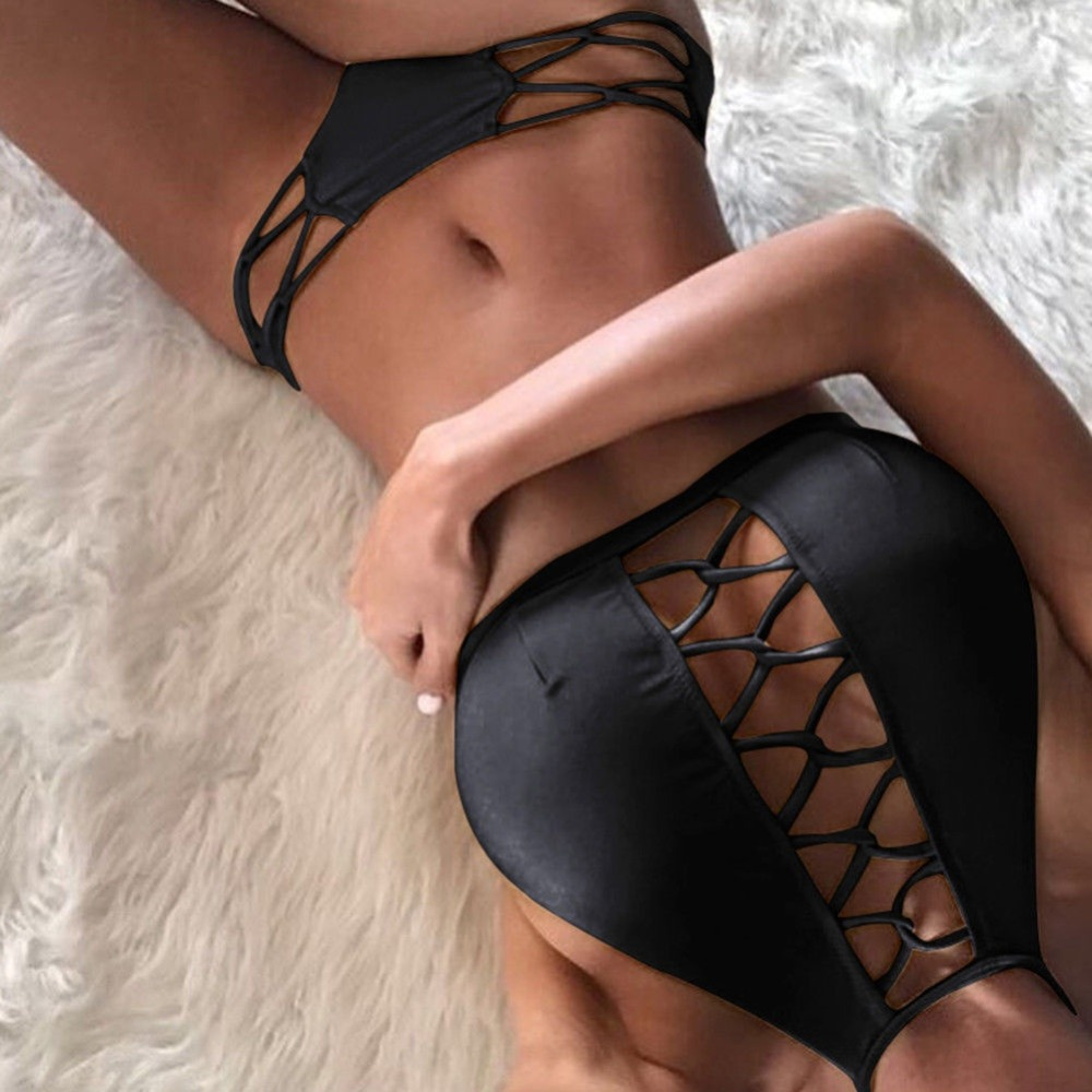 Black <font><b>Lace</b></font> <font><b>Up</b></font> Bikini <font><b>Set</b></font> <font><b>Women</b></font> <font><b>Sexy</b></font> <font><b>Push</b></font> <font><b>Up</b></font> <font><b>Padded</b></font> <font><b>Bra</b></font> Bandage Swimsuit Beach Biquini Pareo <font><b>2018</b></font> Female Halter Summer Beachwear image