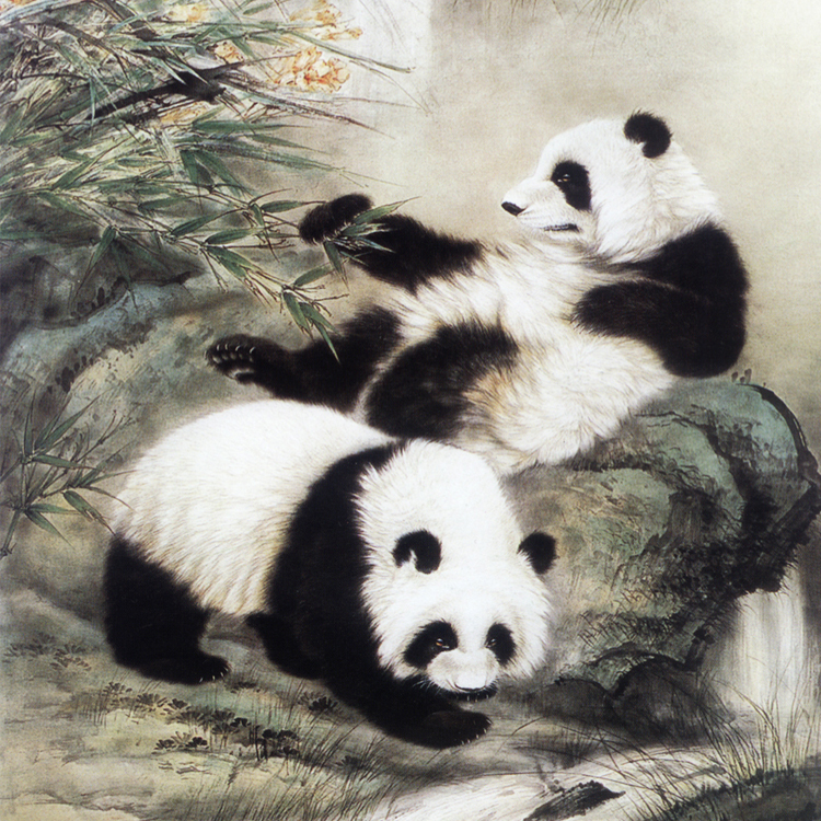 Cute Chinese New Year Wallpaper Fast Shipping Silk Fabric Hd Pictures Painting Cute Panda