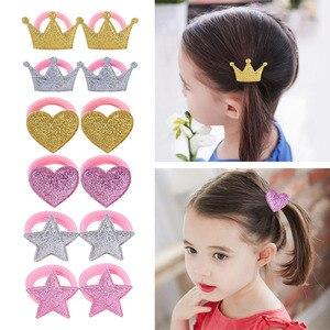 2Pcs/lot Five Star Princess Headwear Baby Headdress Children Hair Ropes Girls Hair Accessories Kids Elastic Hair Bands 933
