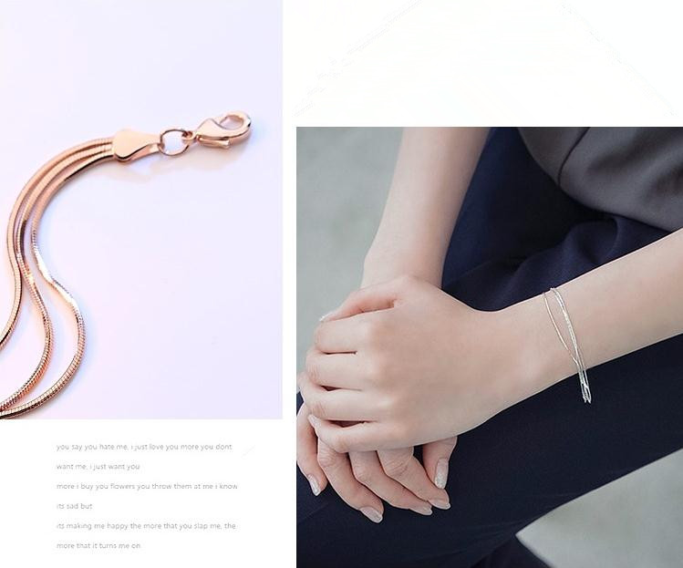 100% 925 sterling silver fashion snake chain ladies bracelets female bracelet jewelry gift drop shipping wholesale cheap
