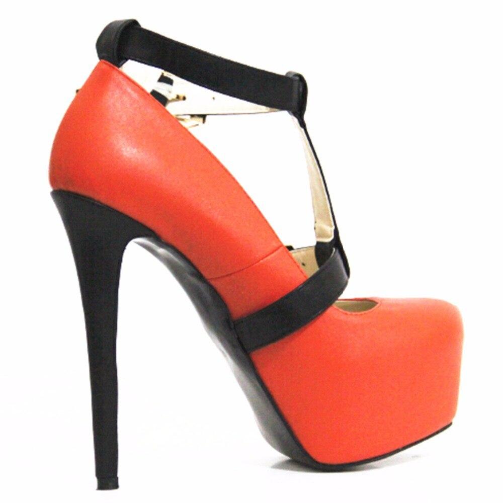16 Cuero Tamaño Tela Tacón Cm 43 Alto De Naranja Zapatos Negro Cinta Nueva 35 Gorgeous xBYqSFx