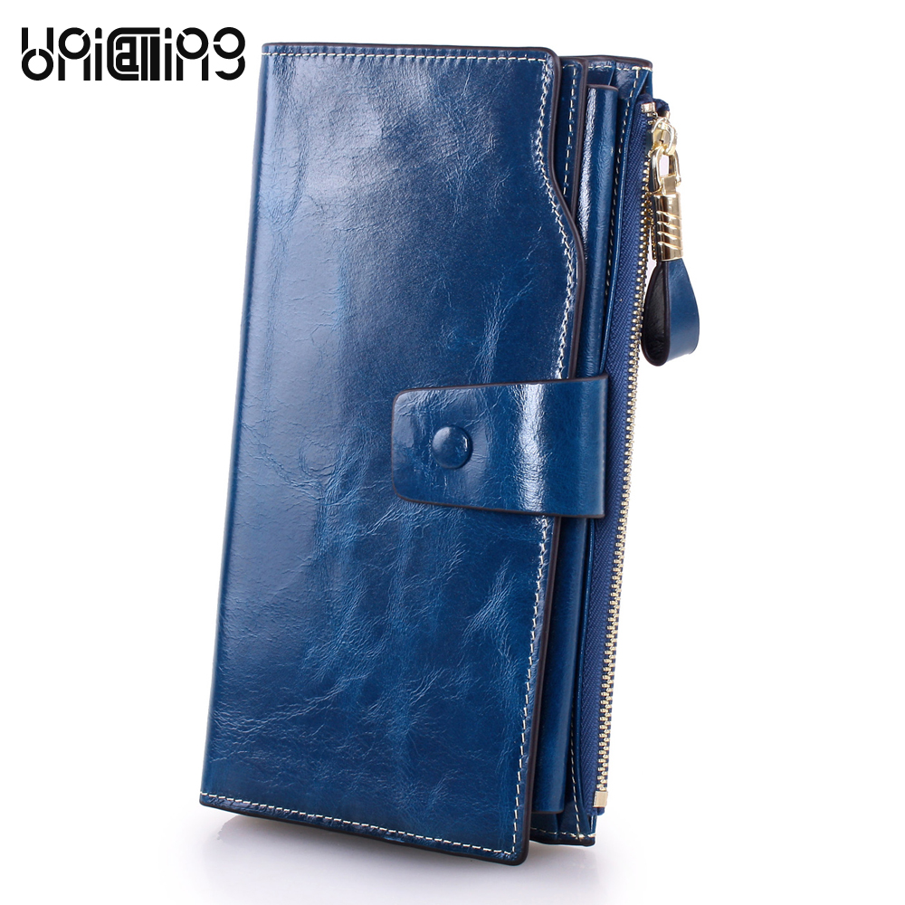 Fashion brand Korean style Oil Wax Cowhide Card Holder Lady Purse Large capacity zipper hasp Long genuine leather women wallet new arrival button wallet lady multifunctional purse long style zipper hasp oil wax cowhide closure huge capacity fashion han