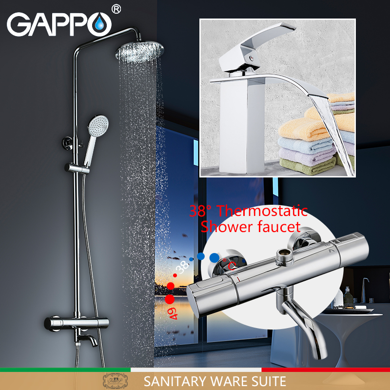 GAPPO Bathtub Faucets Bathtub mixer tap Bath Shower taps waterfall shower head Basin Faucet thermostatic mixing valve