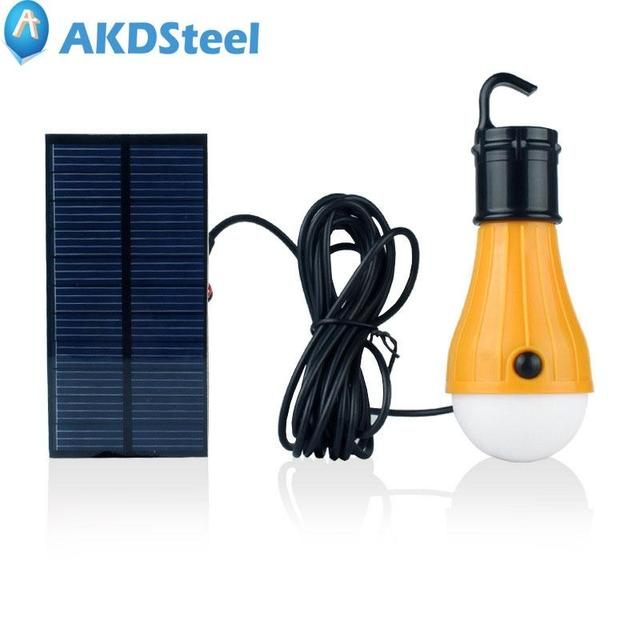 AKDSteel LED Solar Powered Lamp Portable Waterproof Light Bulb For Home  Outdoor Activities Emergency Using Stree