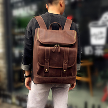 Men Cow Leather Backpack 100% Genuine Leather Backpacks High Quality Men Shoulder Laptop Bag Luxury Designer School Weekend Bags
