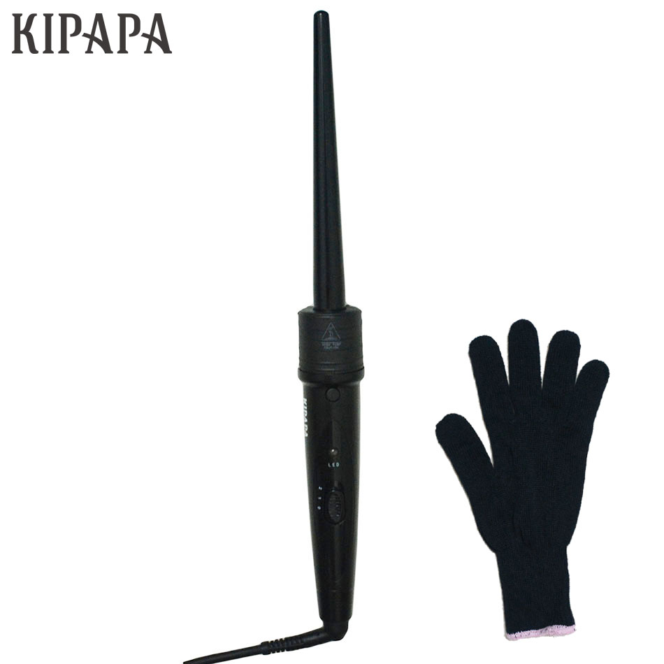 KIPAPA Pro 0.35 Inch Curling Wand 410F Hair Curling Iron Ceramic Tourmaline Hair Curler Electric Ceramic Curling Styling Tools ushow pro steam hair curler automatic tourmaline ceramic hair curling iron rollers electric magic curling irons wand
