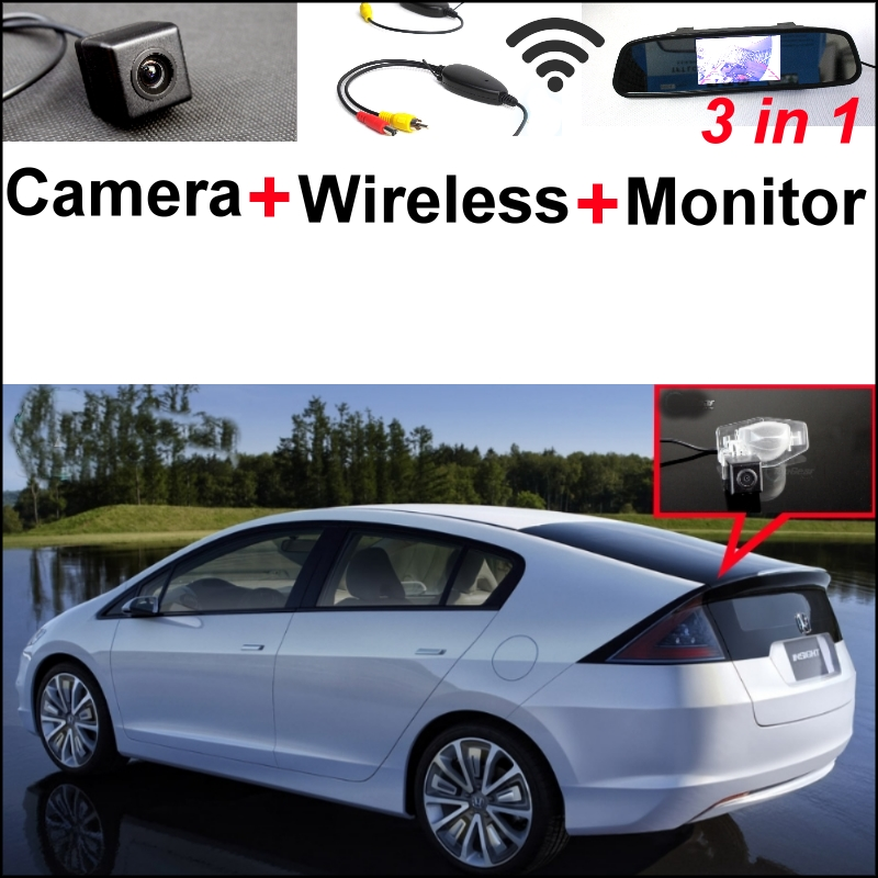 3 in1 Special Camera + Wireless Receiver + Mirror Monitor Easy DIY Back Up Parking System For Honda Insight 5D 2010~2015