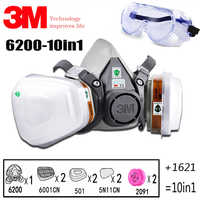 10In1 3M 6200 Half Industrial Gas Mask Organic Vapor Protective Carbon Filter Cartridge Respirator Paint Spray Chemical Goggles