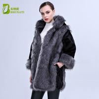 2018 Winter New Arrival Women Faux Fur Coat High imitation Luxury Mink Fur Coat Hooded Artificial Fur Long Jacket DM161