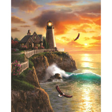 Seaside lighthouse diamond Embroidery diy painting mosaic diamant 3d cross stitch pictures H654