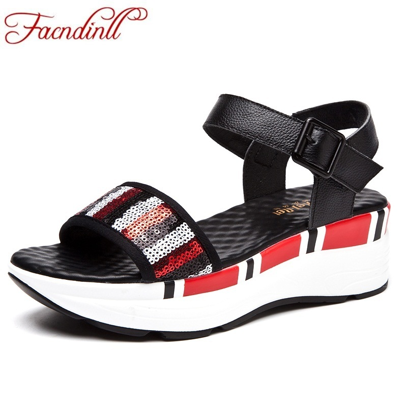 FACNDINLL new high qulaity women summer gladiator sandals fashion platform sandals black open toe shoes ladies casual date shoes facndinll new women summer sandals 2018 ladies summer wedges high heel fashion casual leather sandals platform date party shoes
