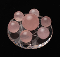 Feng Shui pink crystal balls Seven Star Array Exorcise Statue With Stand