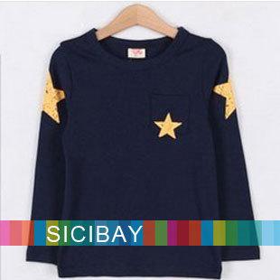 Free Shipping Five-Stars Printed Tshirt Boys Autumn Cool Wear,Children Spring Tops,Long Sleeve  C0225