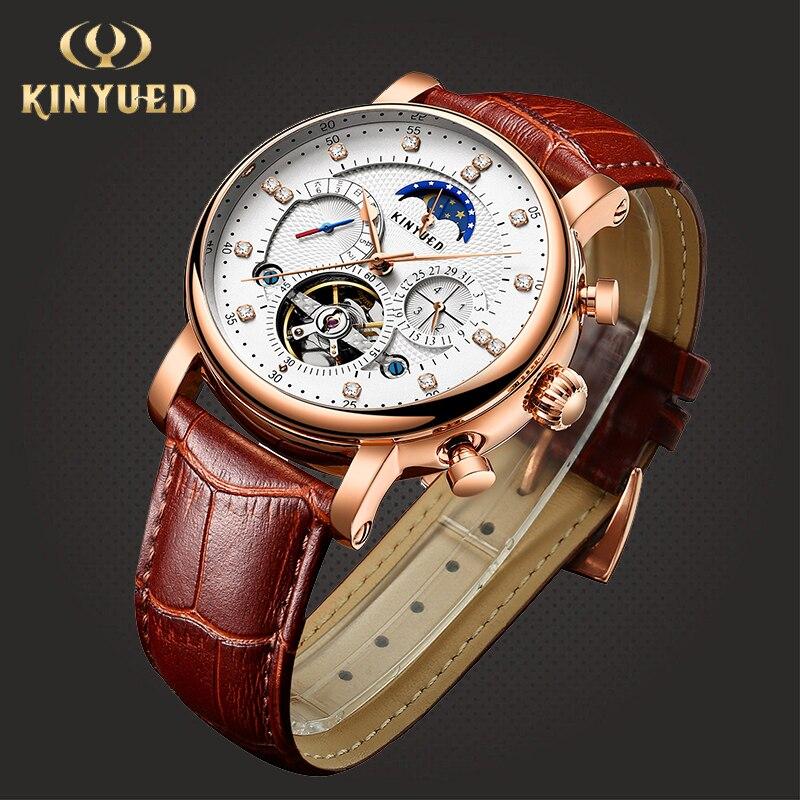KINYUED Moon Phase Top Brand Mens Mechanical Watches Automatic Tourbillon Skeleton Watch Men Calendar Relogio Masculino dropship