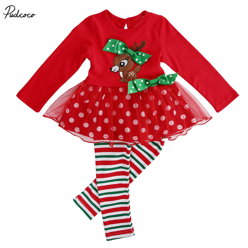 2 Pcs Infant Baby Girls  Xmas  Deer T-shirt  Lace Tops+Long Pants Leggings Outfits Set 1-6Y Kids Girl  Christmas Clothing 3pcs kids baby clothes girl lace floral tops t shirt pants shorts outfits set children infant girls clothing