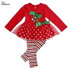 2 Pcs Infant Baby Girls Xmas Deer T-shirt Lace Tops+Long Pants Leggings Outfits Set 1-6Y Kids Girl Christmas Clothing